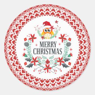 Adesivo Redondo Coruja da grinalda da tipografia & do Natal do