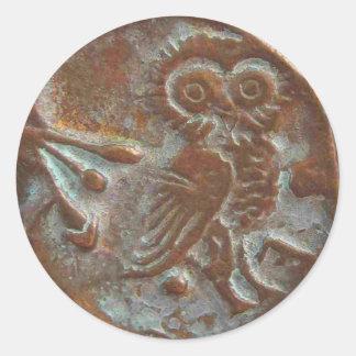 Adesivo Redondo Coruja de Atenas