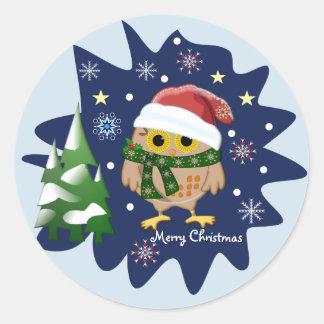 Adesivo Redondo Coruja do Natal, árvores, flocos de neve e texto