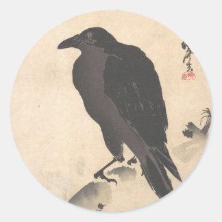 Adesivo Redondo Corvo de Kawanabe Kyosai que descansa na arte de