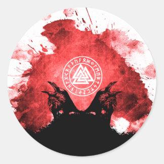 Adesivo Redondo Corvos de Huginn e de Muninn Odin