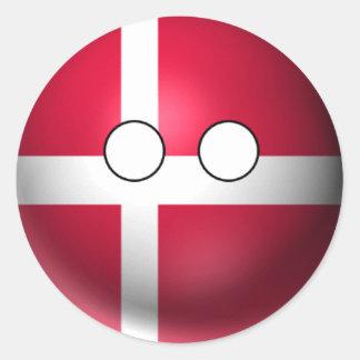 Adesivo Redondo Countryball Dinamarca - expressão neutra