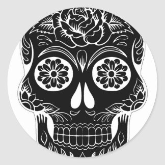 Adesivo Redondo Crânio abstrato