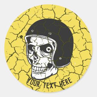 Adesivo Redondo Crânio com capacete (1117)