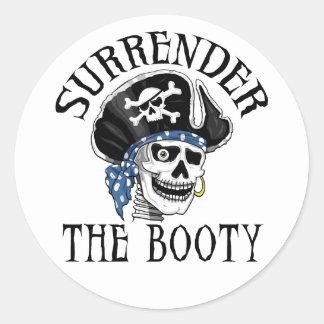 Adesivo Redondo Crânio com um só olho e Crossbones do pirata