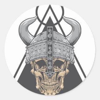 Adesivo Redondo Crânio de Viking
