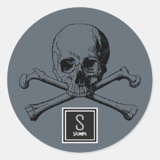 Adesivo Redondo crânio e ossos