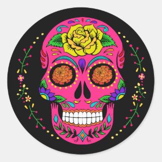 Adesivo Redondo Crânio o Dia das Bruxas do açúcar de Día de los
