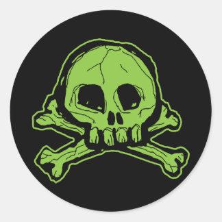 Adesivo Redondo Crânio verde de Scribbly