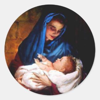 Adesivo Redondo Criança abençoada Jesus da Virgem Maria e da