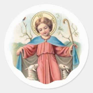 Adesivo Redondo Criança Jesus com cordeiros