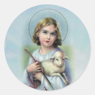Adesivo Redondo Criança Jesus do vintage com cordeiro