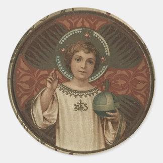 Adesivo Redondo Criança Jesus que guardara o mundo