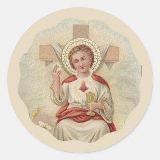 Adesivo Redondo Criança Jesus w/Chalice & anfitrião