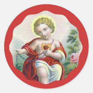 Adesivo Redondo Criança sagrado Jesus do coração que guardara o