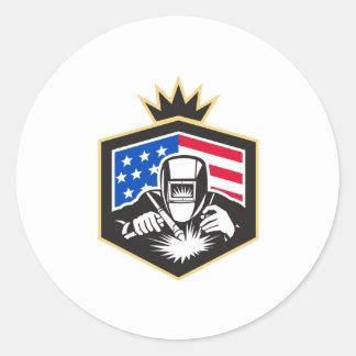 Adesivo Redondo Crista da bandeira dos EUA da soldadura de arco do