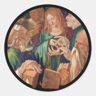 Adesivo Redondo Cristo entre os doutores c1506