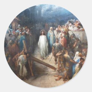 Adesivo Redondo Cristo que sae do Praetorium