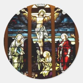 Adesivo Redondo Crucificação - Jesus no transversal (vitral)