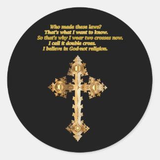 Adesivo Redondo Cruz cristã do divertimento do ouro com provérbio
