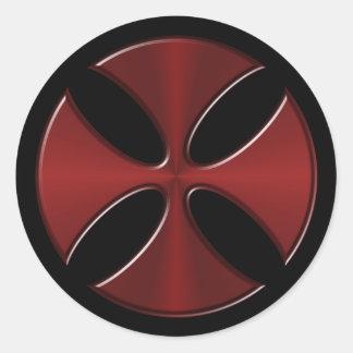 Adesivo Redondo Cruz de Templar dos cavaleiros
