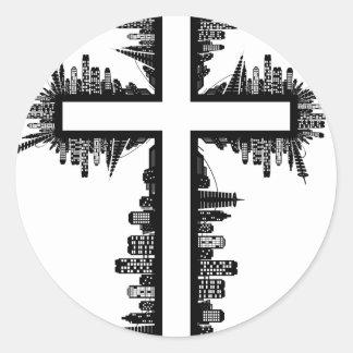 Adesivo Redondo Cruz do cristo do Natal