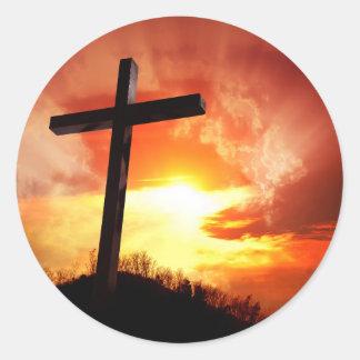 Adesivo Redondo Cruz religiosa da páscoa no por do sol