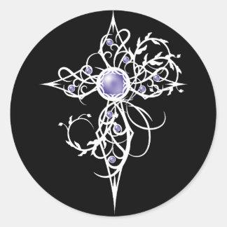 Adesivo Redondo Cruz violeta da luz do anjo da fantasia
