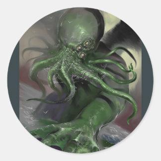 Adesivo Redondo Cthulhu cavalo-força de aumentação Lovecraft