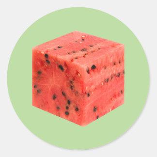 Adesivo Redondo Cubo vermelho doce fresco original da comida da