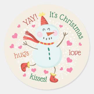 Adesivo Redondo Cumprimento bonito do Natal do boneco de neve