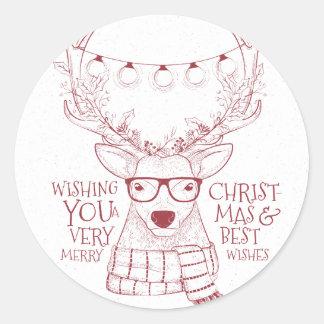 Adesivo Redondo Cumprimentos esboçado do Feliz Natal da rena do