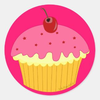 Adesivo Redondo Cupcake cor-de-rosa