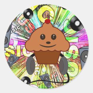 Adesivo Redondo Cupcake & música