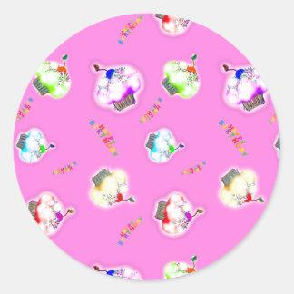 Adesivo Redondo Cupcakes de incandescência no rosa