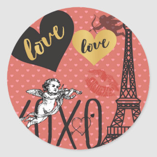 Adesivo Redondo Cupido dos namorados, corações e a torre Eiffel