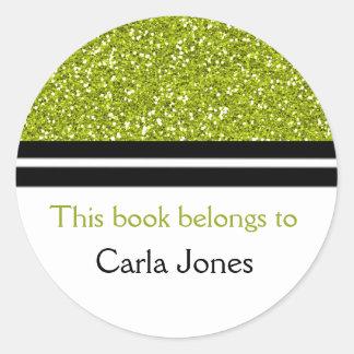 Adesivo Redondo Da biblioteca do brilho verde dos Bookplates |