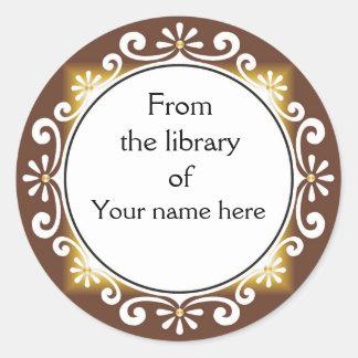 Adesivo Redondo Da biblioteca dos Bookplates - redemoinhos do