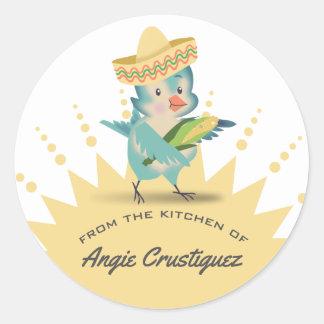 Adesivo Redondo Da cozinha do milho mexicano do cozinheiro chefe