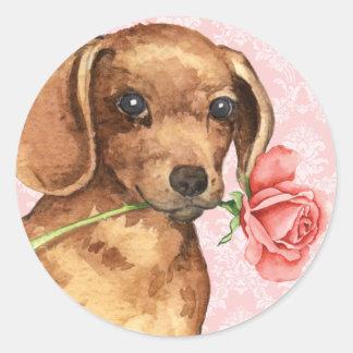 Adesivo Redondo Dachshund cor-de-rosa dos namorados