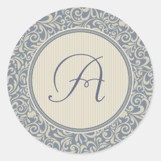 Adesivo Redondo Damasco azul e bege elegante com monograma