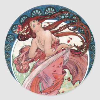 Adesivo Redondo Dança de Alfons Mucha 1898