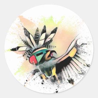 Adesivo Redondo Dançarino de Kachina do nativo americano