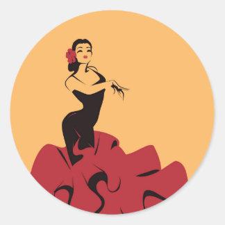 Adesivo Redondo dançarino do flamenco em uma pose espectacular