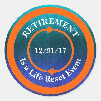 Adesivo Redondo Data alaranjada da aposentadoria do ícone da