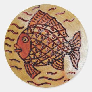 Adesivo Redondo Decoração de madeira com peixes