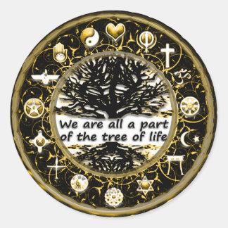Adesivo Redondo Deixado haja uma paz na árvore da terra de vida