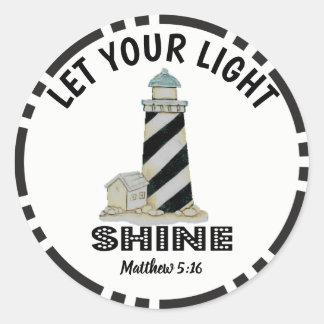 Adesivo Redondo Deixe seu 5:16 claro de Matthew do farol do brilho