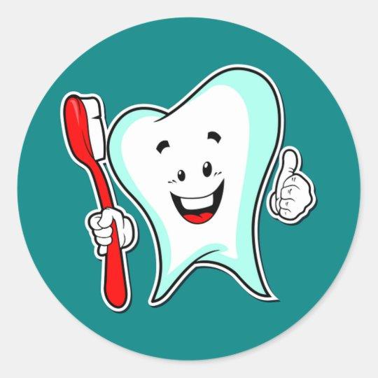 Adesivo Envelopamento Joinville ~ Adesivo Redondo Dente e escova de dentes dos desenhos animados Zazzle com br