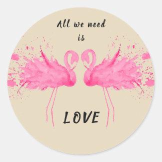 Adesivo Redondo Descrição do flamingo do amor